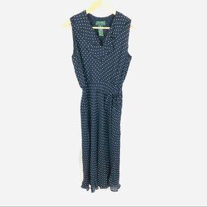 Vintage 90s Ralph Lauren polka dot midi navy dress
